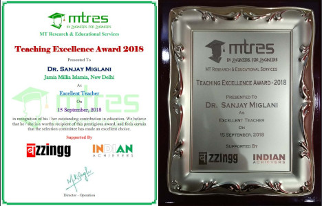 Dr Sanjay Miglani - MTRES Teaching Excellence Awards