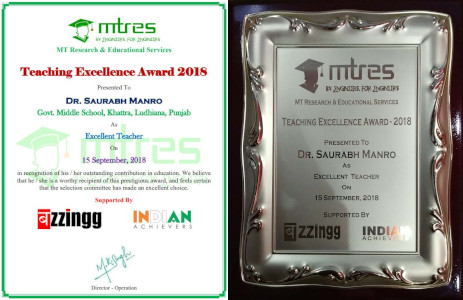 Dr Saurabh Manro - MTRES Teaching Excellence Award 2018