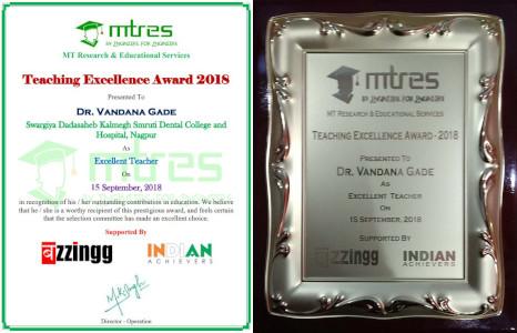 Dr Vandana Gade - MTRES Teaching Excellence Award 2018