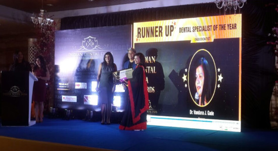 Dr Vandana Gade - was honoured with Runner Up Award as Dental Specialist of the Year (Endodontist) by Indian Dental Diva