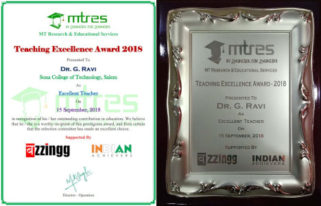 Dr. G. Ravi - MTRES Teaching Excellence Award 2018