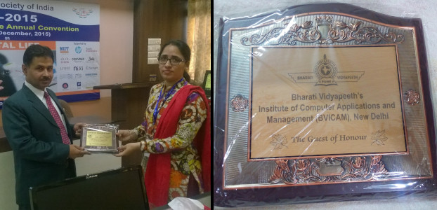 Hardeep Singh - Being felicitated as Guest of Honour at CSI 2015 at BVICAM New Delhi