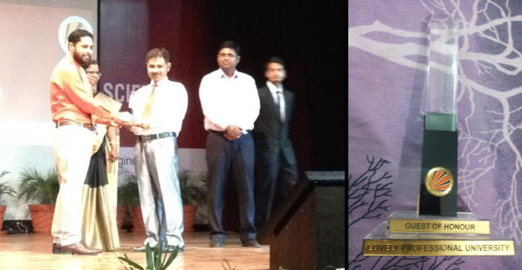 Hardeep Singh - Being felicitated with Guest of Honour at Lovely Professional University