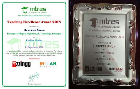 Hardeep Singh - MTRES Teachers Excellence Awards 2018