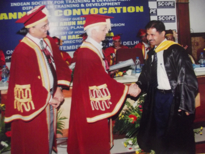 Hardeep Singh - Receiving Certificate of Merit for Research Work of Diploma in Training and Development by ISTD, New Delhi,2012