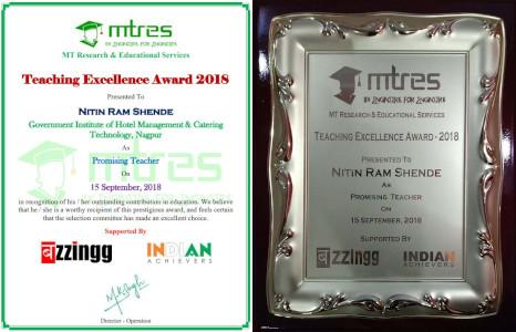 Nitin Shende - MTRES Teaching Excellence Award 2018