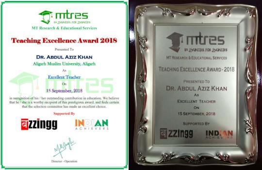 Dr Abdul Aziz Khan - MTRES Teaching Excellence Award 2018