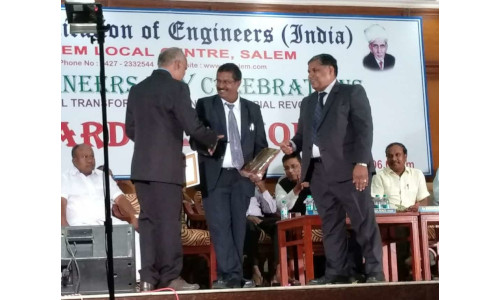 Dr T Subramani - Best Engineer Award from Institute of Engineers, Salem Local Chapter