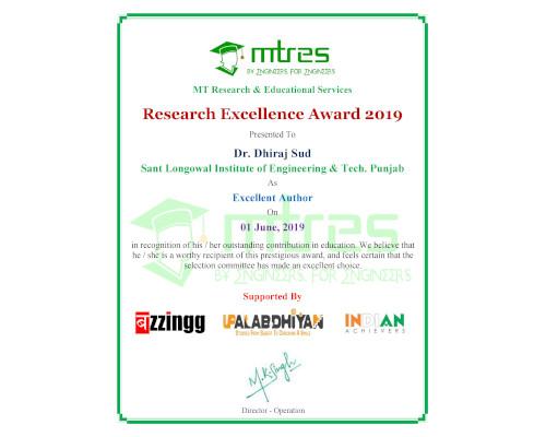 Dr. Dhiraj Sud - MTRES REA 2019 Certificate