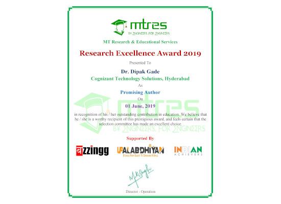 Dr. Dipak Gade - MTRES REA 2019 Certificate