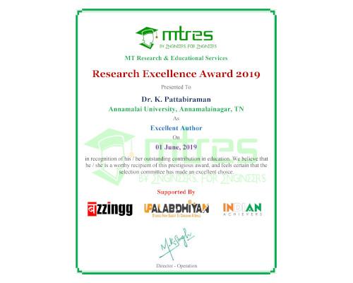 Dr. K. Pattabiraman -MTRES REA 2019 Certificate