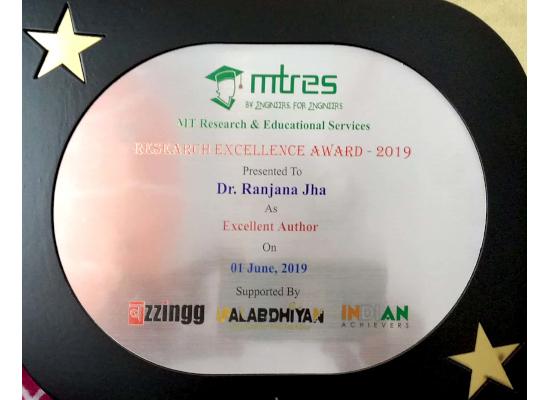 Dr. Ranjana Jha MTRES REA 2019 Memento