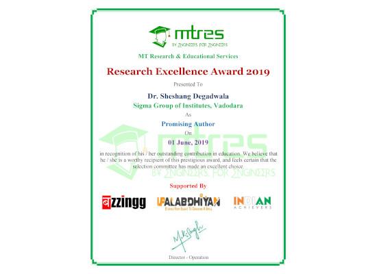 Dr. Sheshang Degadwala - MTRES REA 2019 Certificate