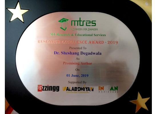 Dr. Sheshang Degadwala - MTRES REA 2019 Memento