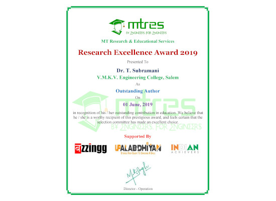 Dr T Subramani - MTRES Research Excellence Award 2019 Certificate