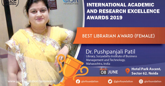 Dr Pushpanjali Patil - IARE Award 2019