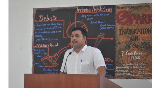Dr Sudhir Kumar - Giving a talk during an event at his institution