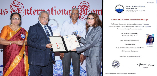 Dr Bidisha Chakraborty - Young Scientist Award in Environmental Management - VIRA - 2016