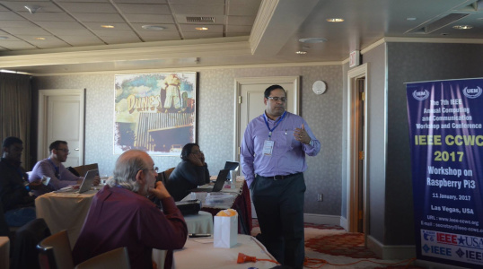 Dr Indraneel Mukhopadhyay - IEEE CCWC 2017 at Las Vegas - Workshop Raspbery Pi2