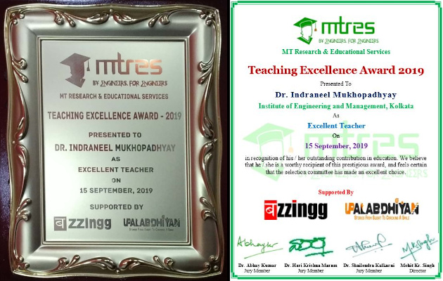 Dr Indraneel Mukhopadhyay - MTRES TEA 2019 - Memento and Certificate