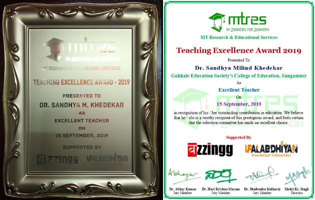 Dr Sandhya Khedekar - MTRES TEA 2019 - Momento and Certificate