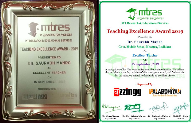 Dr Saurabh Manro - MTRES TEA 2019 - Certificate and Memento