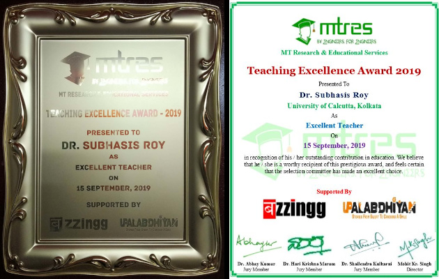Dr Subhasis Roy - MTRES TEA 2019 - Momento and Certificate
