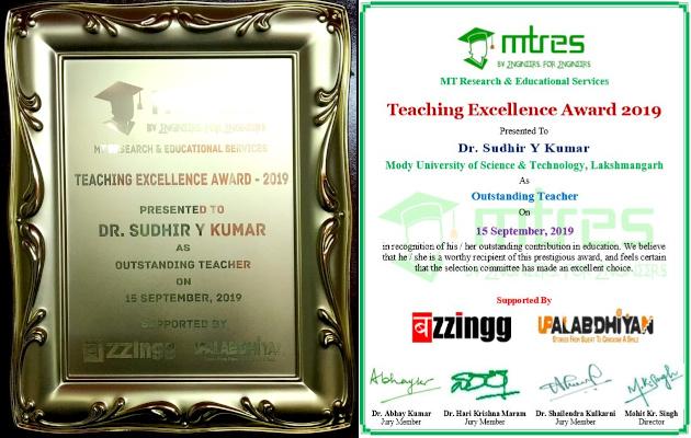 Dr Sudhir Y Kumar - MTRES TEA 2019 - Certificate and Memento