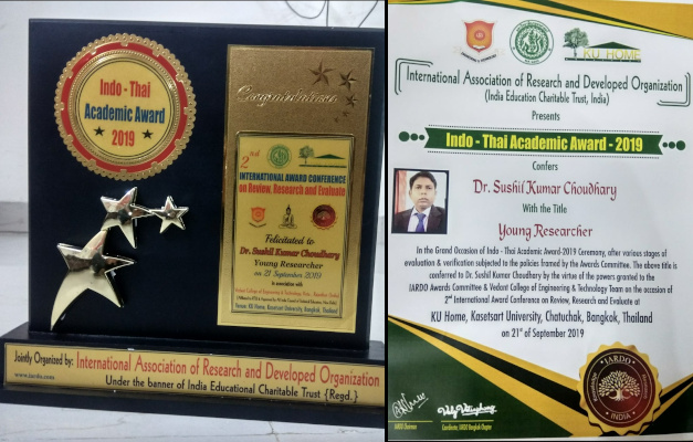 Dr Sushil Kumar Choudhary - Young Researcher Award at Indo-Thai Academic Awards 2019