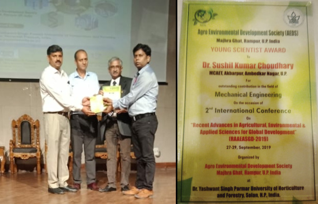 Dr Sushil Kumar Choudhary - Young Scientist Award - AEDS Conference Sep 2019