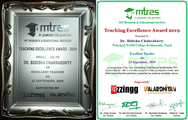 Dr. Bidisha Chakraborty - MTRES TEA 2019 - Certificate and Memento