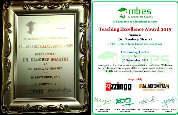 Dr. Sandeep Shastri - MTRES TEA 2019 - Certificate and Memento