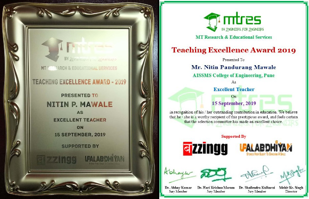 Nitin Mawale - MTRES TEA 2019 - Certificate and Memento