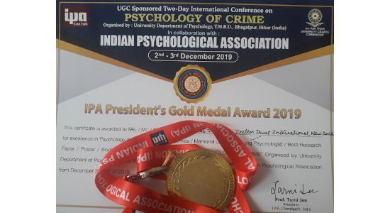 Dr Nitesh Jha - IPA Gold Medal